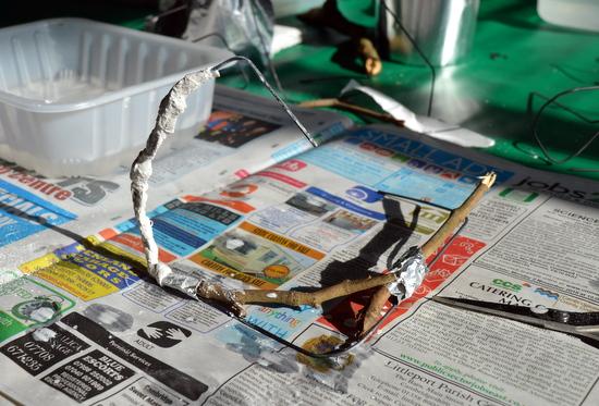 Student combines sticks,wire and Modroc