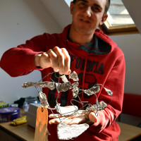 Luke, learner at Red2Green delighted with his finished sculpture in the Arts Council funded Aspire to Create project