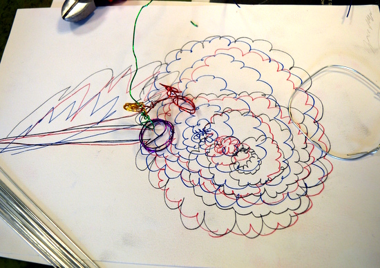 One of a series of workshops by Accessart at Red2Green using drawing to explore designs and patterns in nature, followed by a making session using wire to extend ideas into 3D.
