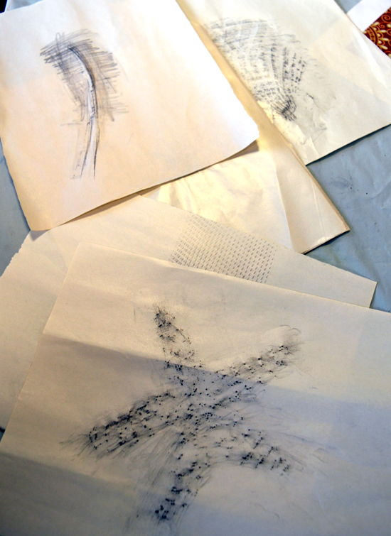 Starfish, feather and other rubbings