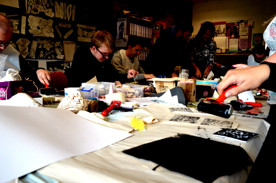 Learners at Red2Green getting to grips with block printing