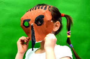 Hedgehog mask by a pupil at Milton Road Primary School