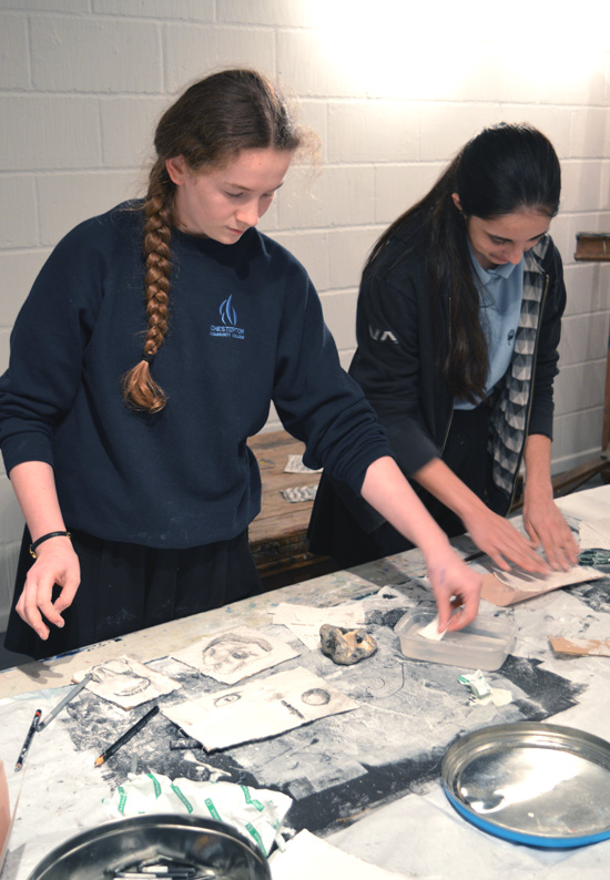 Teenagers from AccessArt's experimental drawing class, explore image making and building a drawing with modroc and graphite
