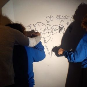 Collaborative drawing with visually impaired students