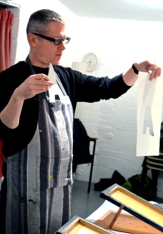 Artist Andy Mckenzie introduces teenagers to screen print and positive and negative stencils