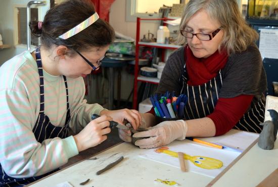 Rosie works on initial shaping of Tweety Pie