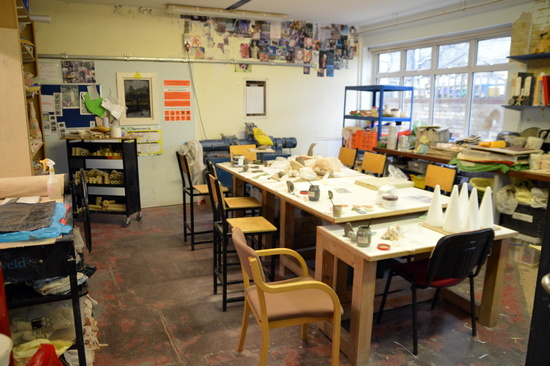 The ceramics studio at the Rowan Foundation,Cambridge
