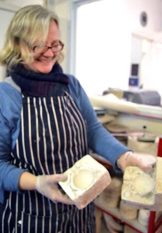 Artist Abi Moore, one of the tutors in the ceramic room at Rowan, Cambridge