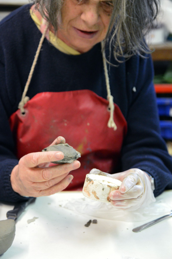 Jenny reveals her clay form from the mould - Jenny will go on to make a duck