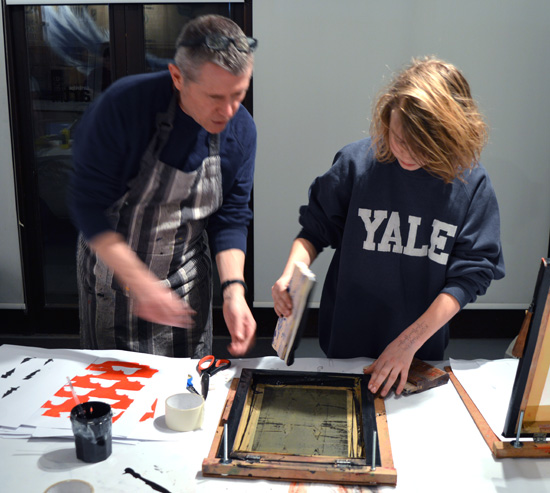 Andy Mckenzie facilitates screen printing workshop at Cambridge ArtWorks