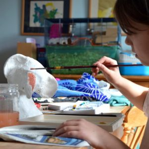 The following week, Portia set to paint her BFG