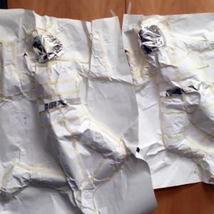Figures on wall - Astronaut body casts with Gillian Adair McFarland