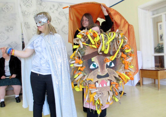 Students preforming the Lion, the Witch and the Wardrobe at Frimurst, Surrey