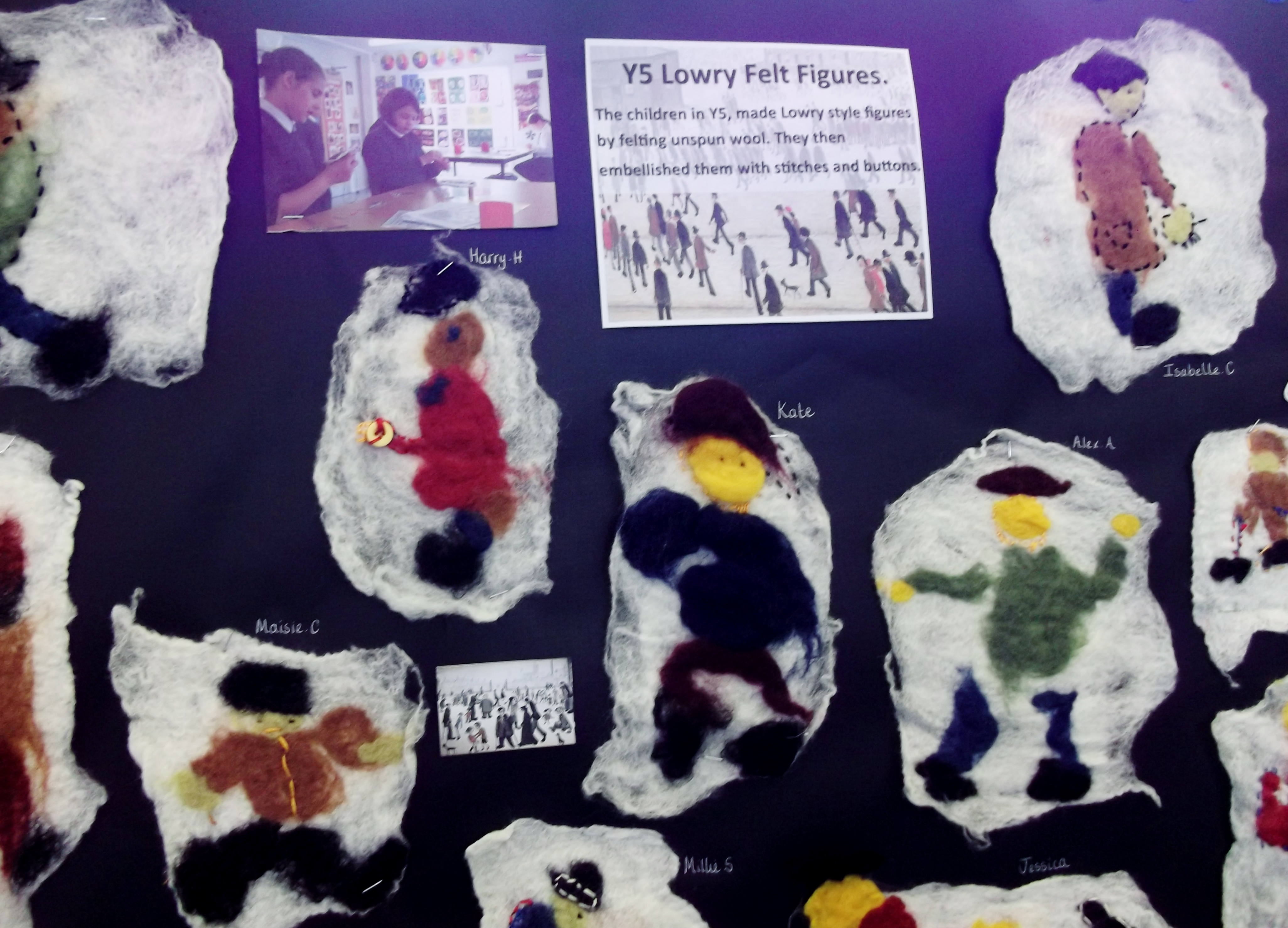 Felted and embellished Lowry style figure by Y5 children