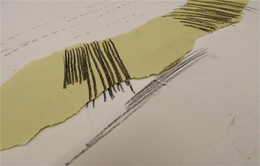 MonoPrint Lines over Sugar Paper