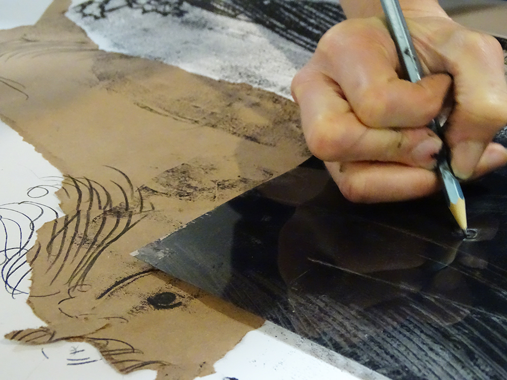 Using an Inked Plate Face Down over Collage to Add Marks