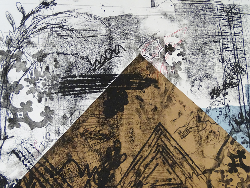 Monoprint over Initial Warm Up Collage