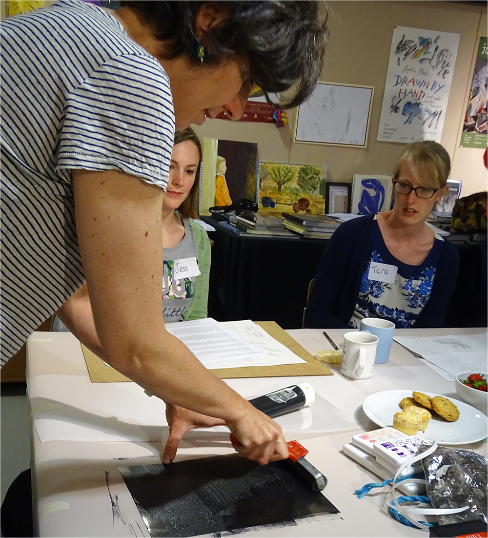 Sheila Demonstrates Inking up a Plate