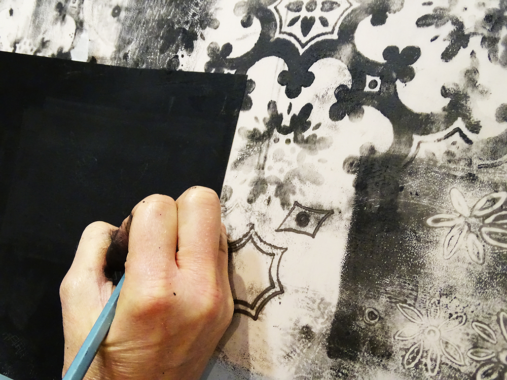 Monoprinting Over Embossed Wall Paper Print