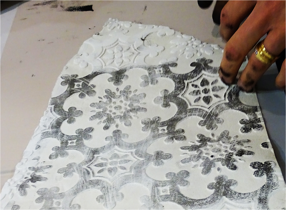 Printing Using Embossed Wallpaper as Plate