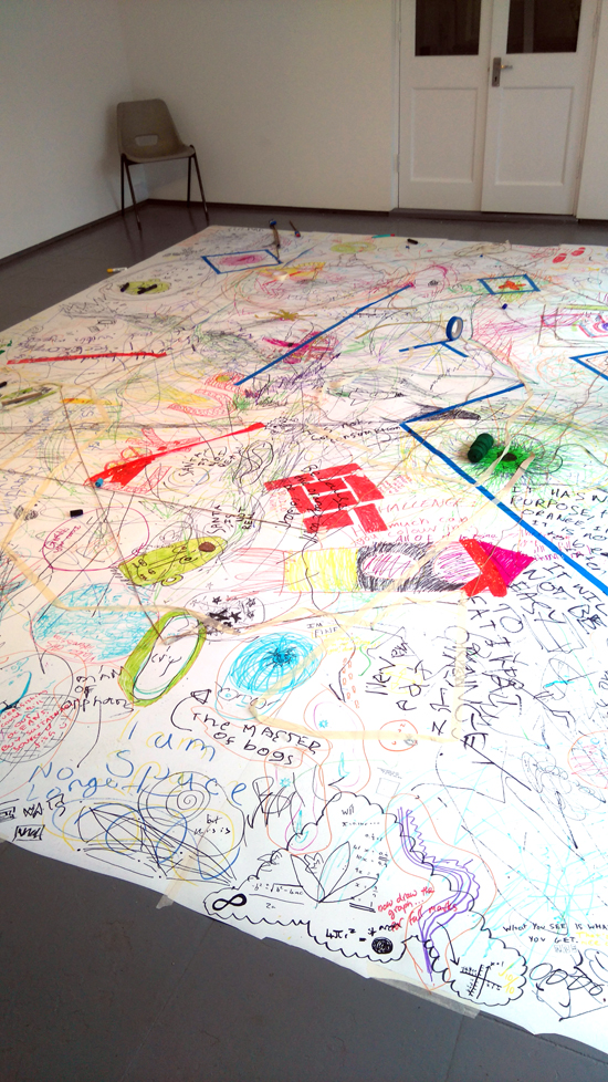 Teenagers at AccessArt's Experimental Drawing Class use the floor to have a visual conversation with each other – to say what they needed to say in marks and rhythms and drawing, to be mindful of each other but make the marks they felt they needed to express. To respond to each other – to 'listen' as well as 'talk'.