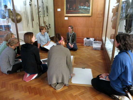 Kate Noble - Education officer at the Fitzwilliam Museum, Cambridge leading a primary InSET session in gallery 31 - the Armoury