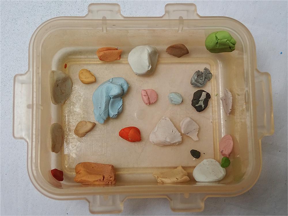 Palette of mixed clays