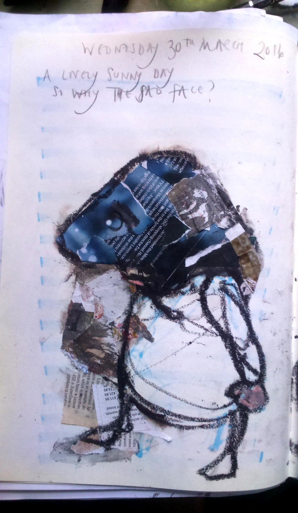 August Creative Challenge: Conveying emotions through colour and distortion: use of appropriately coloured collaged pieces and oversized head to convey weight of feelings. From Morag's daily visual diary 2016