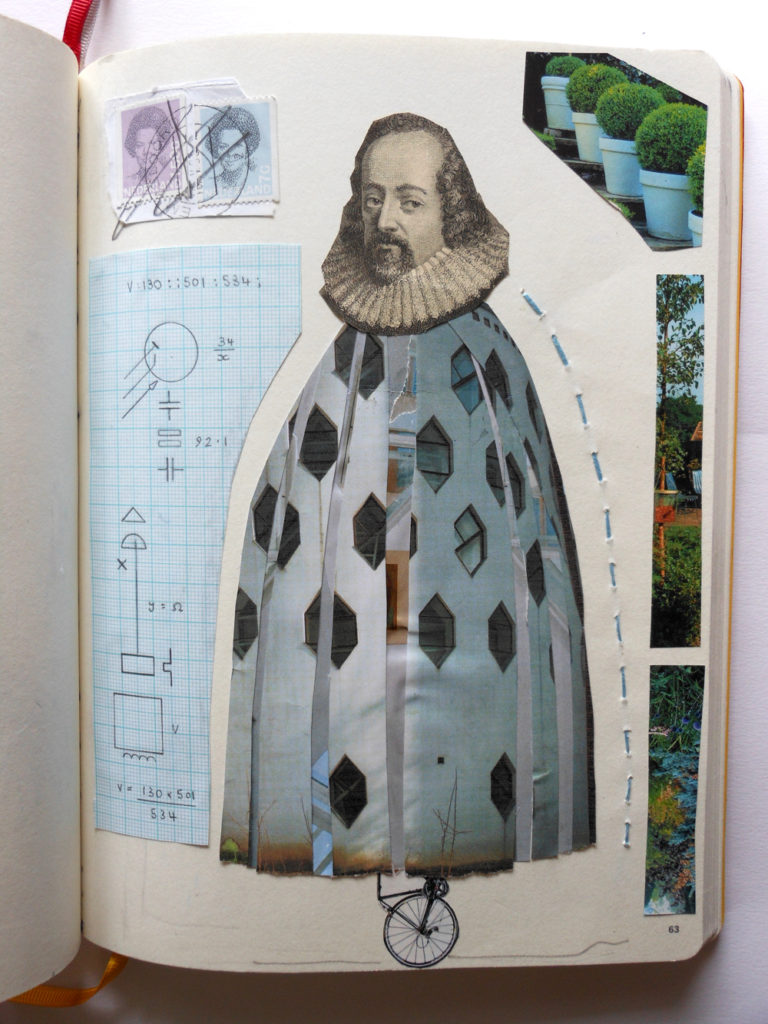 August Creative Challenge: Sketchbook page by Andrea Butler (collage, drawing and stitch)