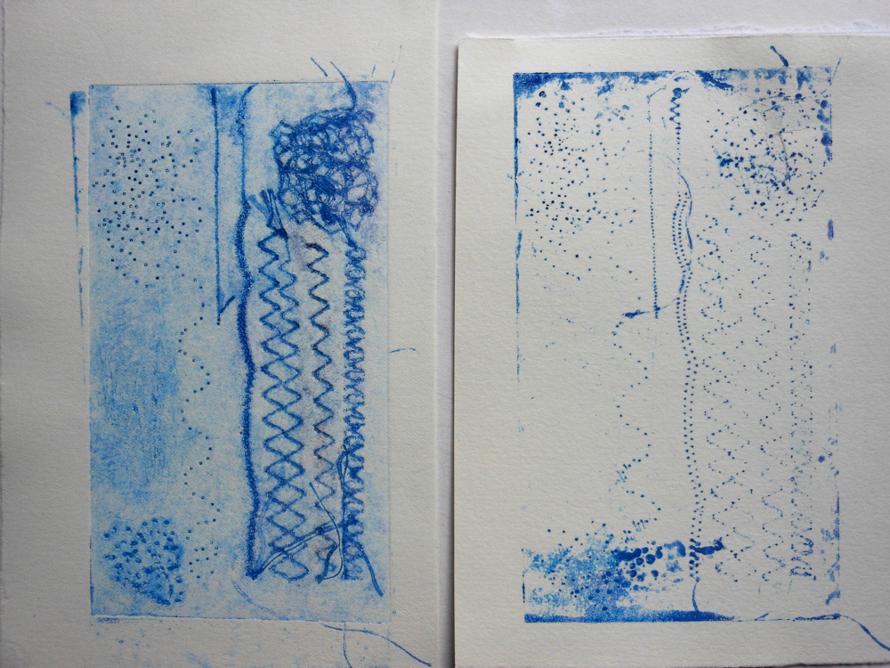 August Creative Challenge: Exploring mark making by stitching into card. Collograph print and ghost print by Andrea Butler