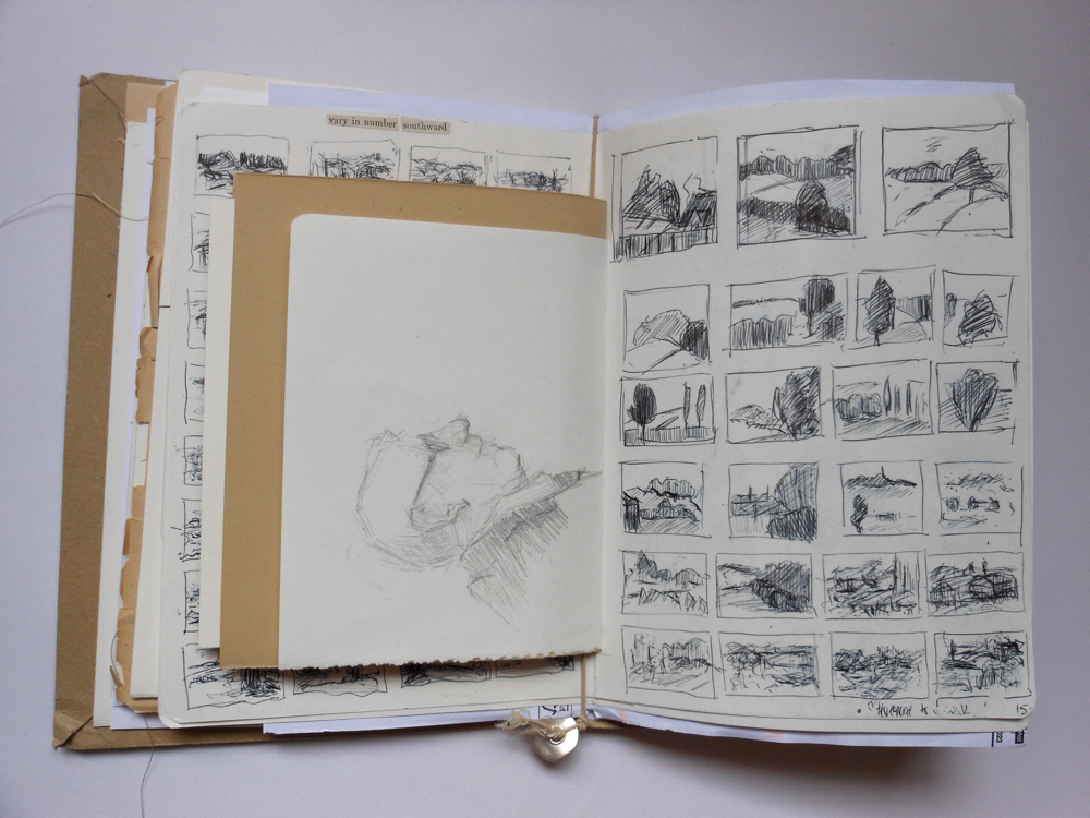 August Creative Challenge: Andrea Butler's elastic band sketchbook showing small drawings of the landscape in biro, made on a train journey