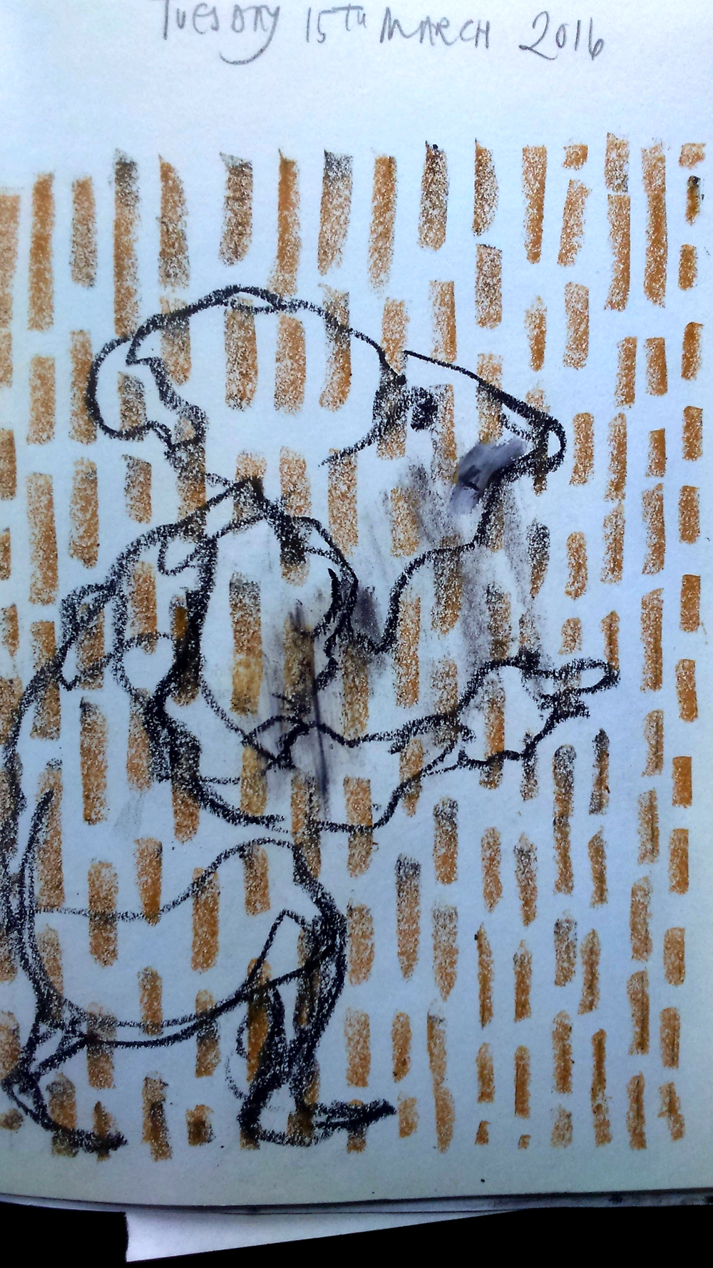 "August Creative Challenge; ""Random mark-making prior to making a drawing kills the fear of the blank white page, and adds drama and movement to your drawing."" From Morag's daily visual diary 2016"