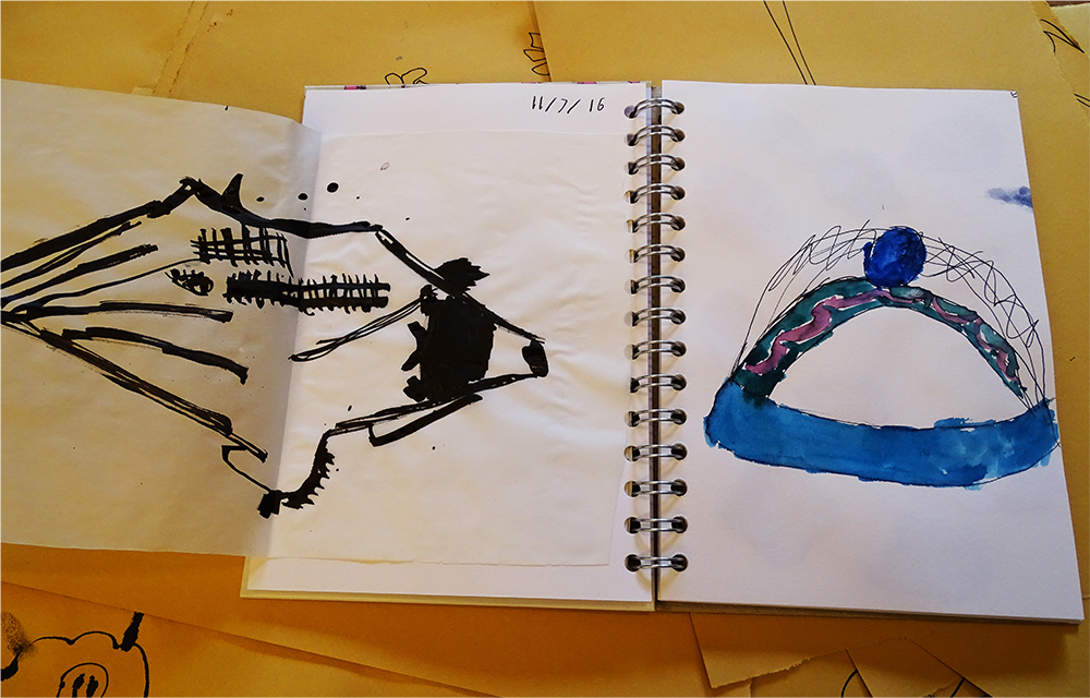 Finally children enjoyed collating their drawings into their sketchbook, and making new sketchbooks drawings in response