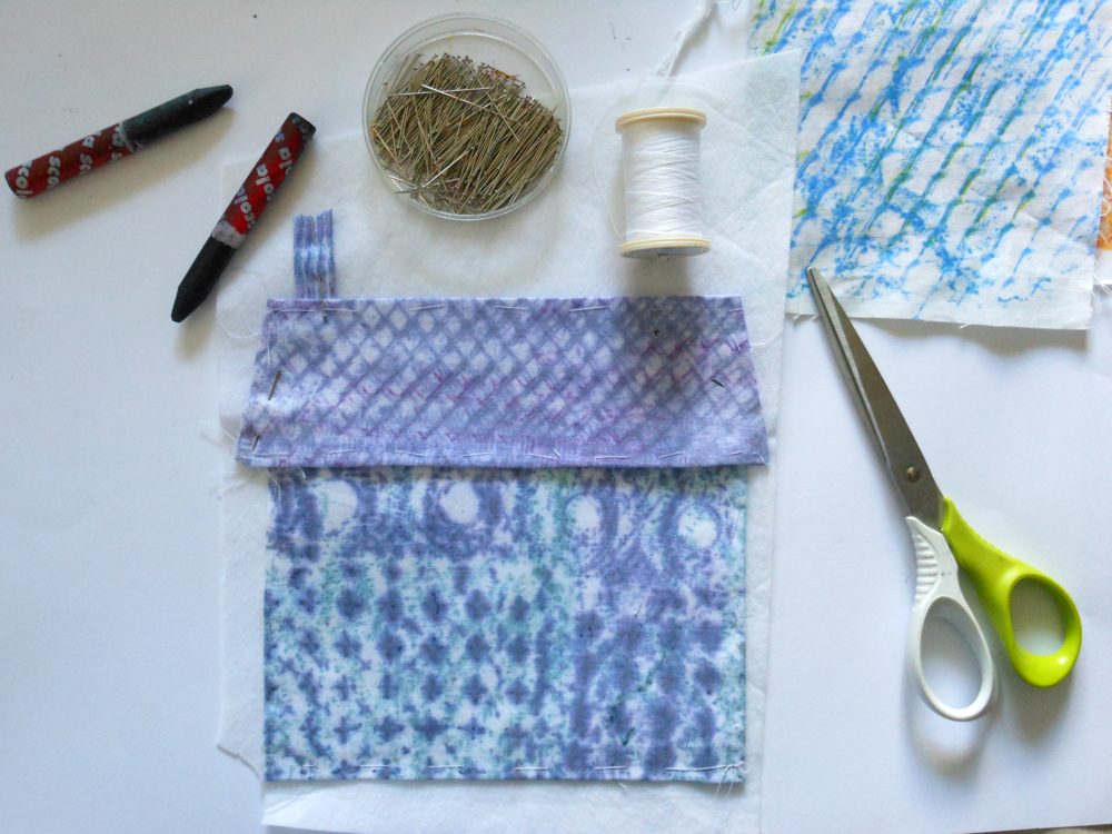 Draw your home: collage, stitch and fabric crayons: Scola Di-Stix designed for man-made fabrics used on a natural cotton fabric - a much more subtle effect