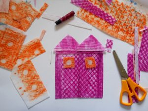 Andrea Butler shows how to use fabric rubbings and simple stitching  to make a colourful collage of a home.