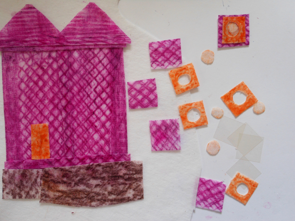 Draw your house: collage, stitch and fabric crayons