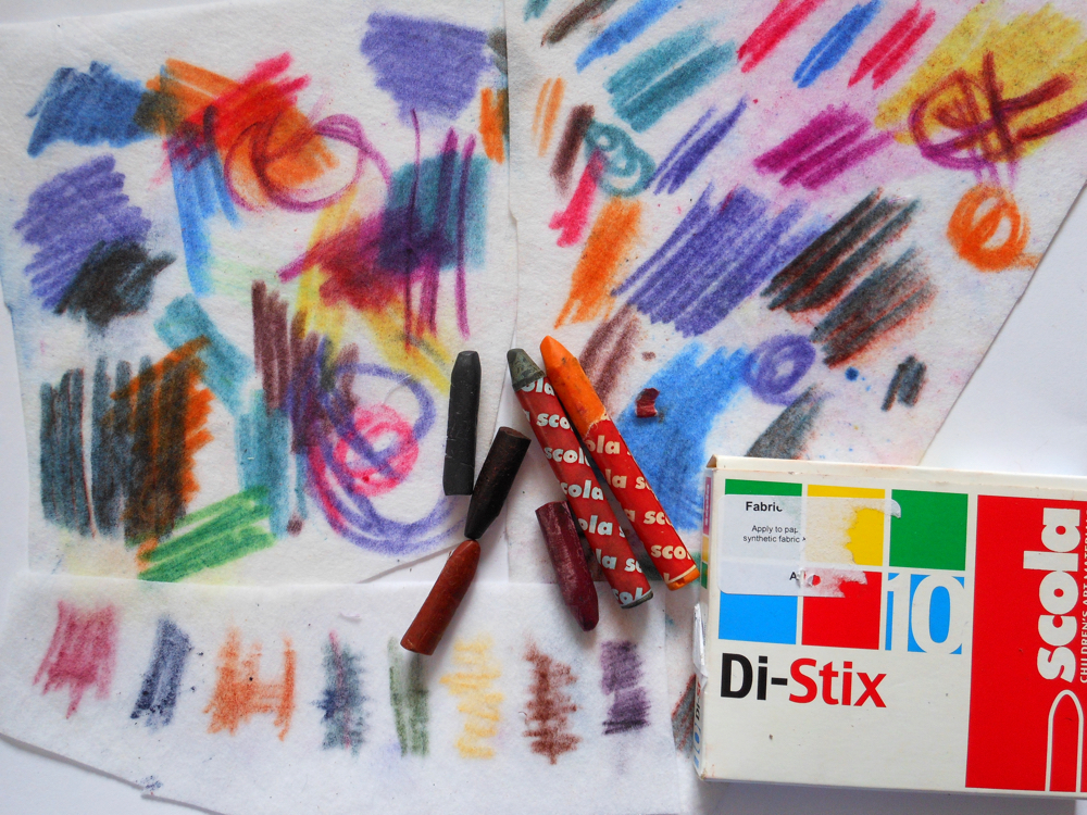 Draw your home: collage, stitch and fabric crayons: Markmaking with fabric crayons