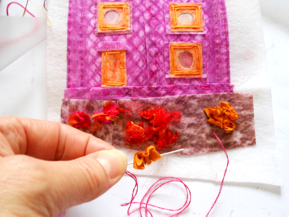 Collage, stitch and fabric crayons
