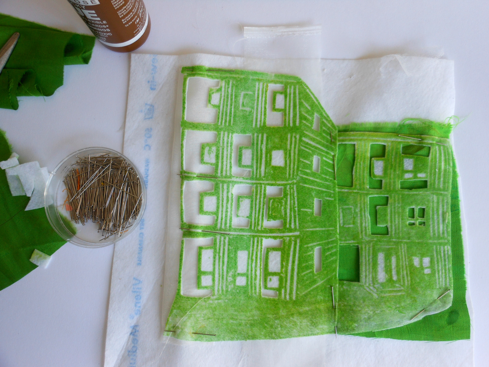 Collagraph, collage and stitch: make a image of your home on fabric