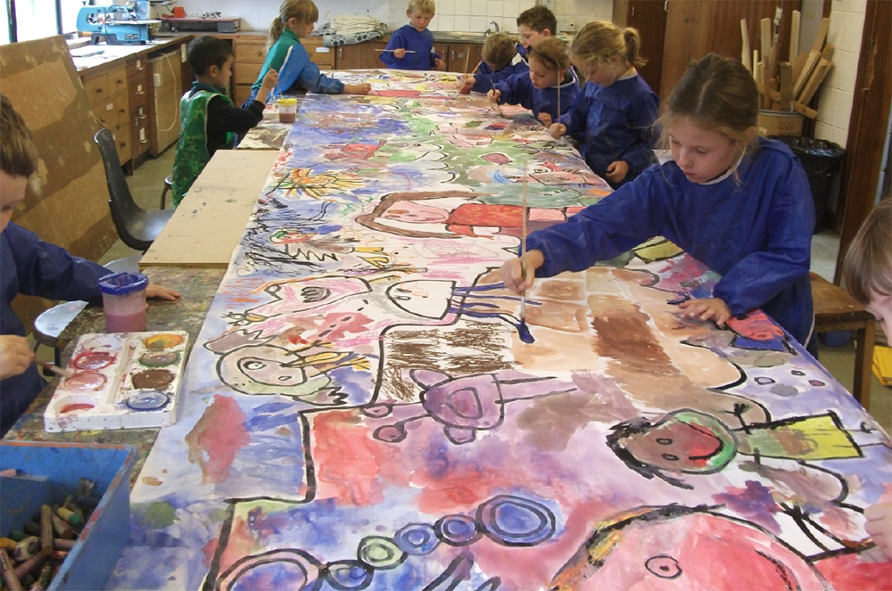 Year 1 Size 6-metres Collaborative Work. Ink and paint, inspired by their holiday memories.