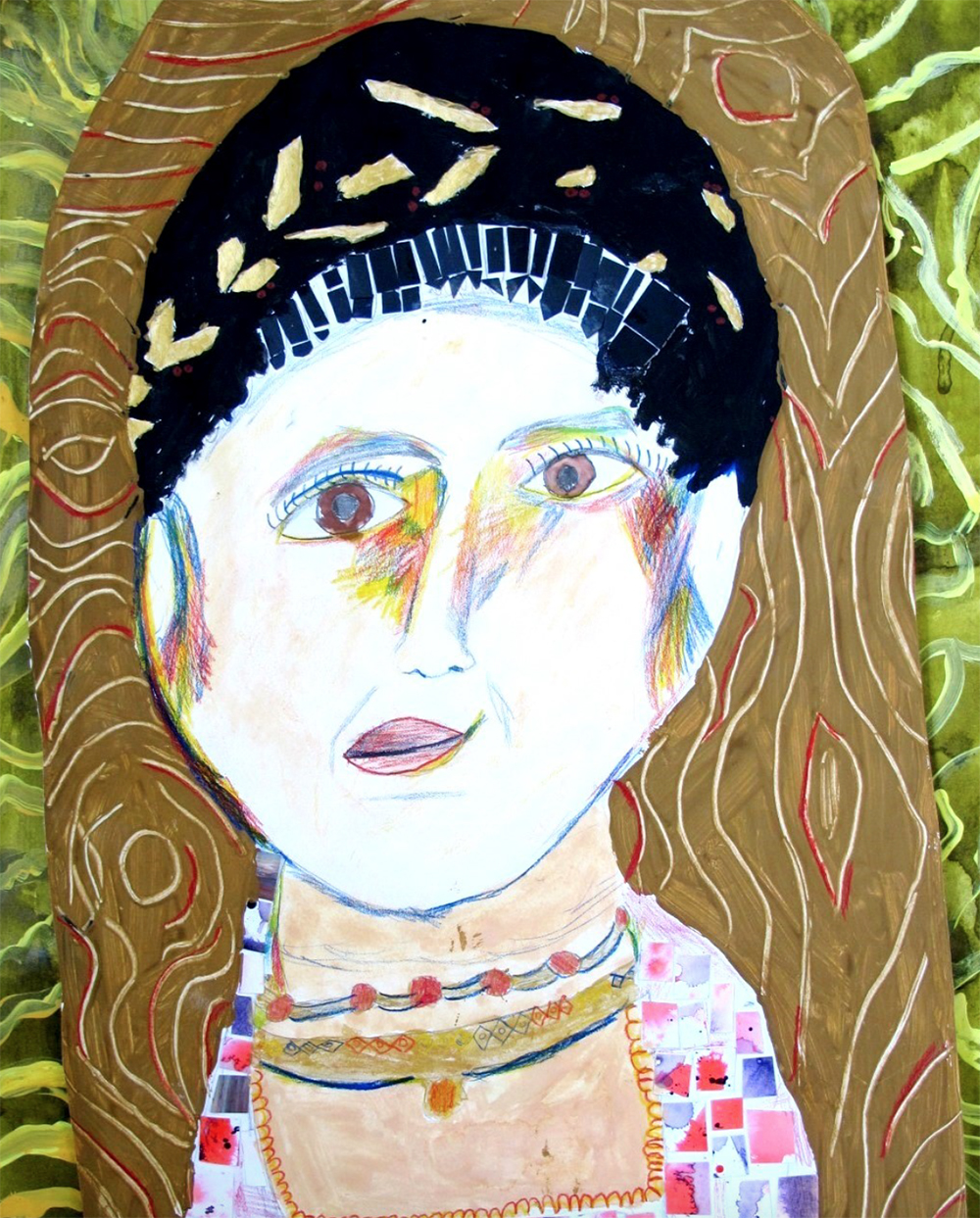 Year 4 Size-A2 Mixed media with paint, collage, oil pastel and coloured pencils. Self-portrait Inspired by Roman portraits on wood.