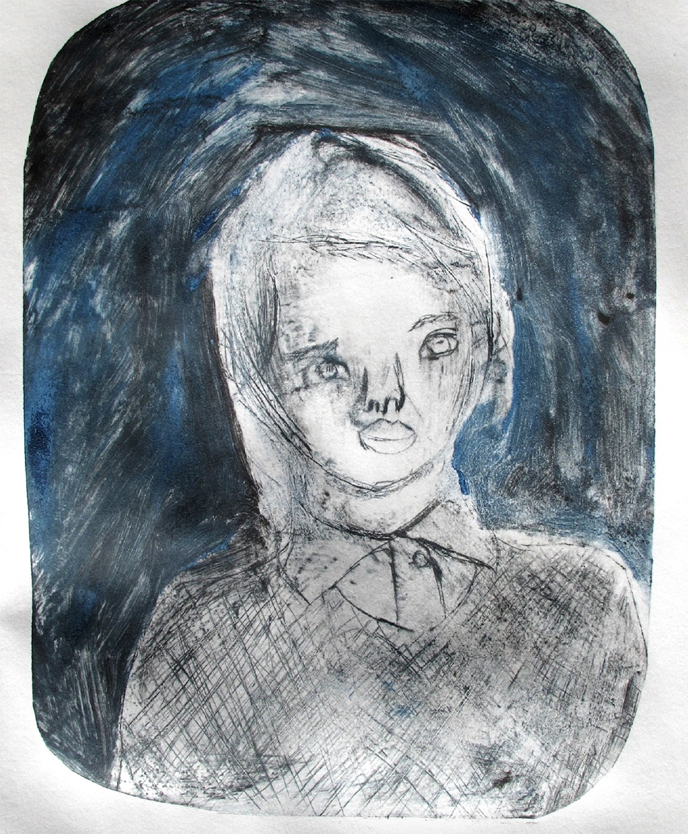 Year 5 Size- A4 Mock-etching (scratched card, inked and put through the printing press) Self Portrait. Inspired by Tracey Emin.