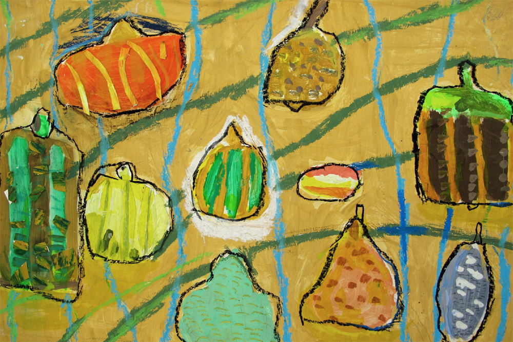 Year 4 Size-A2 Paint, oil pastel and painted-paper collage. Autumn Still-life painting with pumpkins and gourds