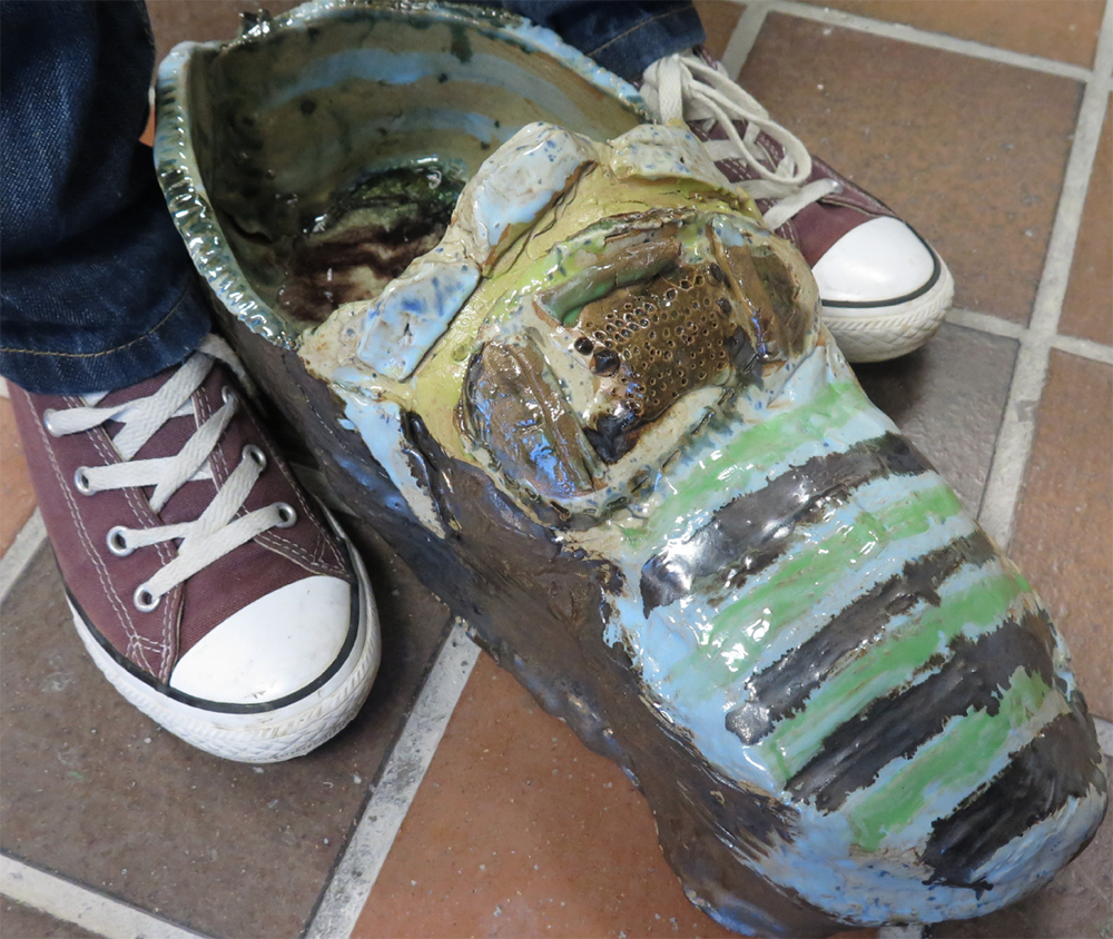 Year 5 Earthenware ceramics (with melted wine bottles inside) Tudor-style shoe with buckle inspired by drawings from a local shoe collection.