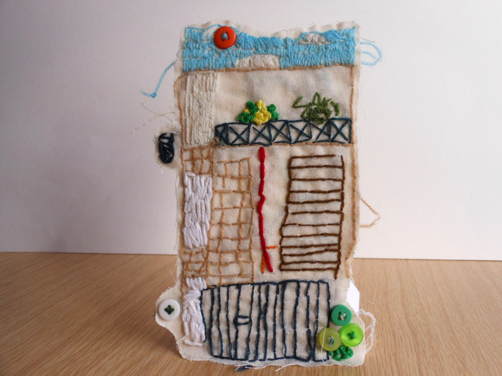 The AccessArt Village Project - Stitched house by Hugo, St John's College School