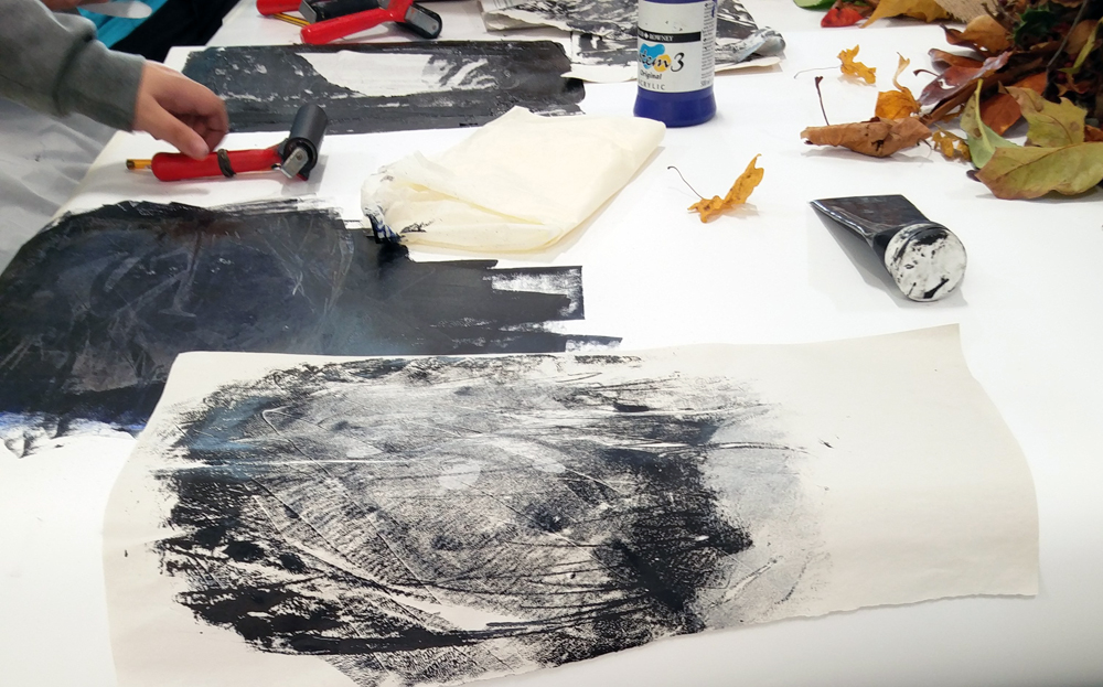 Arts and Minds - Cambourne - week six - monoprinting - YB