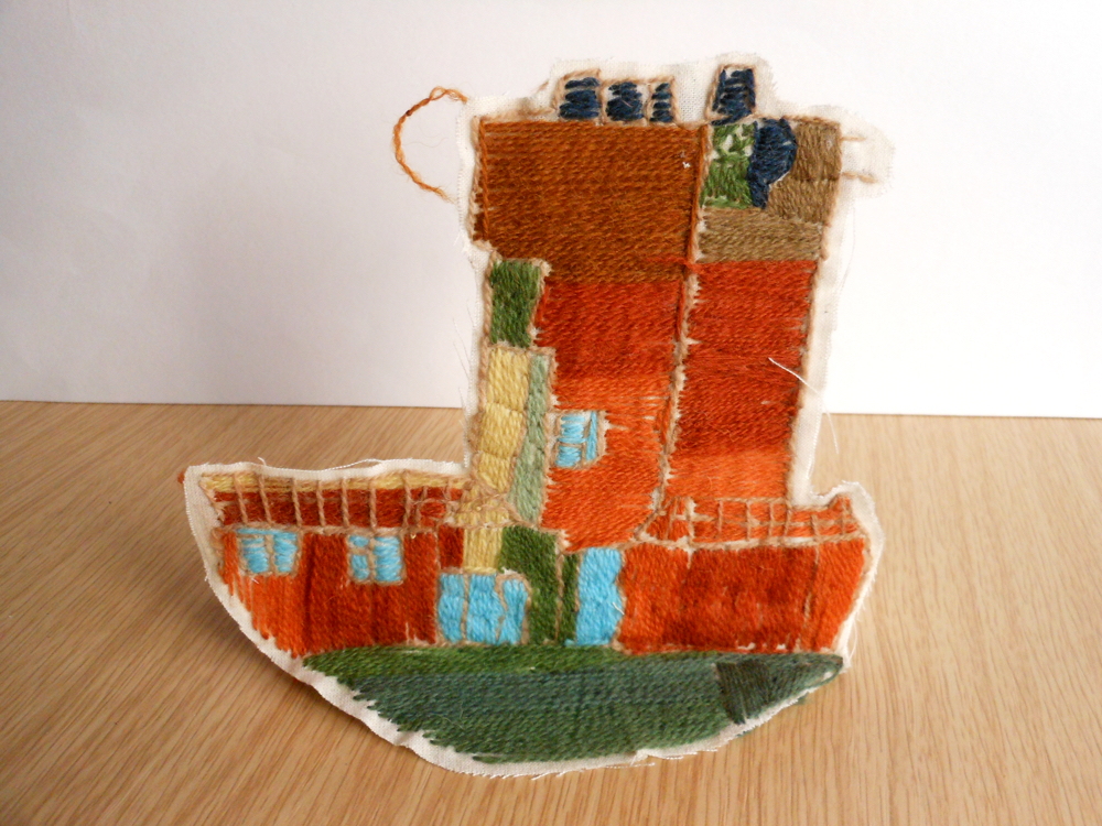 The AccessArt Village Project - Stitched house by Zebedee, St John's College School