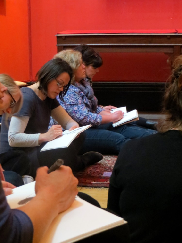 Teachers drawing 19th Century paintings at the Fitzwilliam Museum, Cambridge