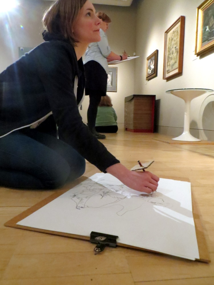 Teachers draw in the 20th Century Gallery in the Fitzwilliam Museum, Cambridge