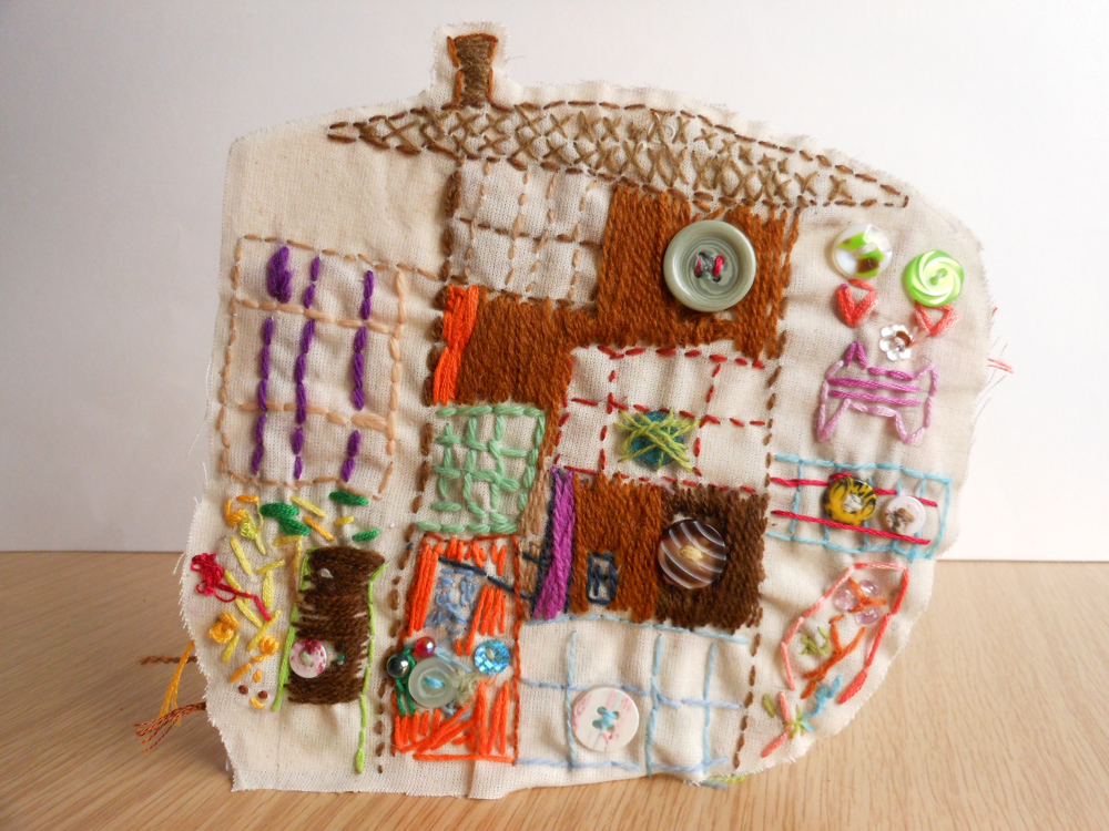 The AccessArt Village Project - Stitched house by Kezia, St John's College School
